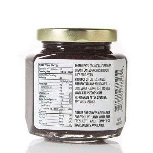 Arhus organic blackberry preserves back of jar