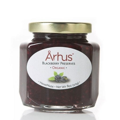 Organic blackberry preserves (front of jar)