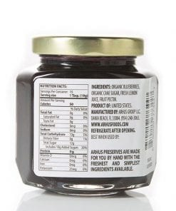 Organic blueberry preserves (back with Nutrition Facts)