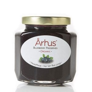 Arhus organic blueberry preserves front of jar