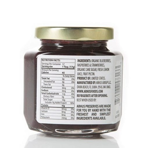 Århus organic mixed berry preserves back of jar