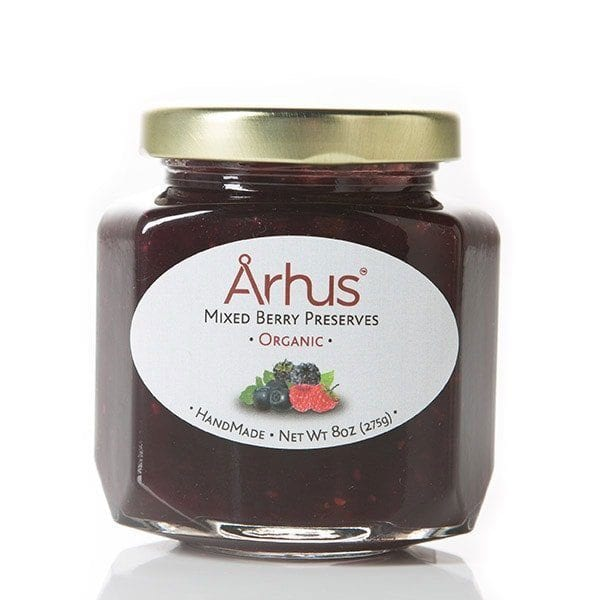 Arhus organic mixed berry preserves front of jar