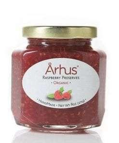 Arhus organic raspberry preserves front of jar