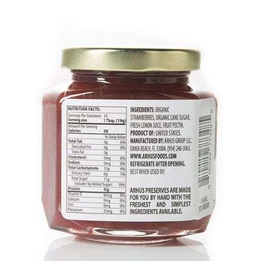 Arhus organic strawberry preserves back of jar