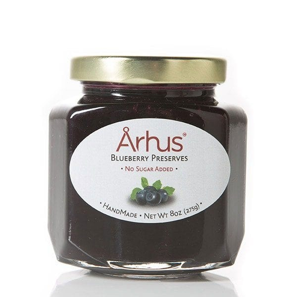 Arhus blueberry preserves (front of jar)