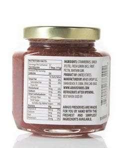 Arhus strawberry preserves (back of jar)